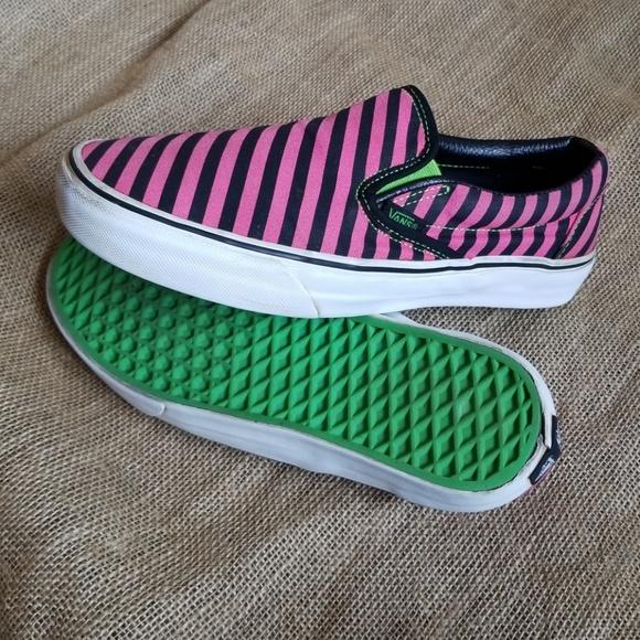 Vans Shoes   Vans Pink Striped Slip Ons